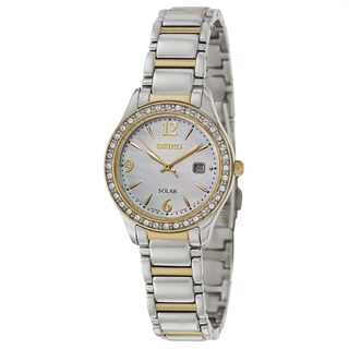 Seiko Women's SUT126 'Solar' Swarovski Crystal Gold-plated Watch