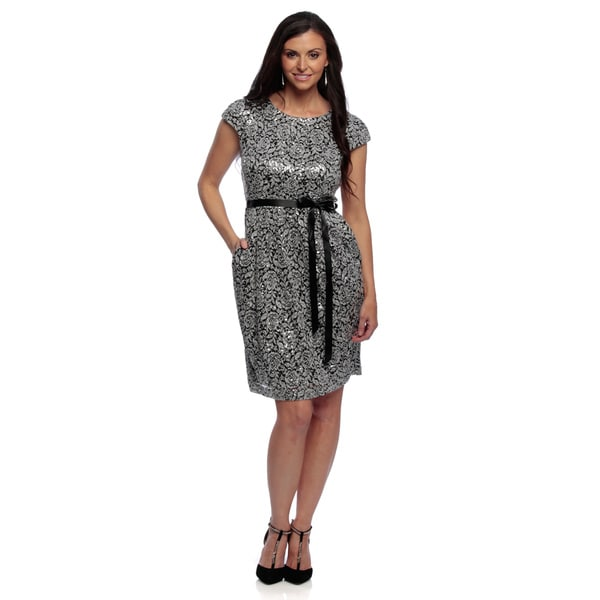 Alex Evenings Women's Petite White/ Black Stretch Lace Dress with Tie Belt