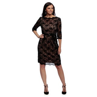 Alex Evenings Women's Petite Black All-over Lace Cocktail Dress with Ribbon Belt