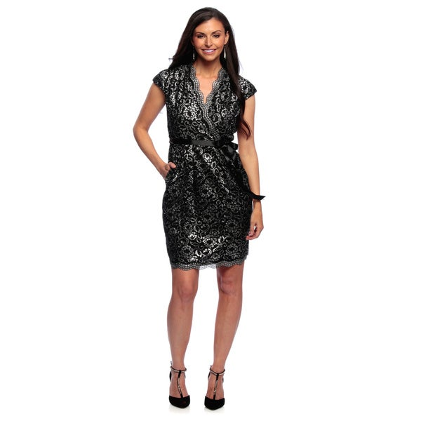Alex Evenings Petite Surplice Neckline Lace Cocktail Dress with Ribbon Tie Belt