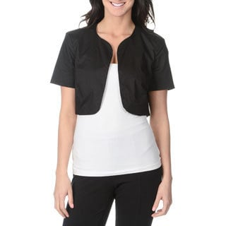 Lennie for Nina Leonard Women's Black Short-sleeve Shrug