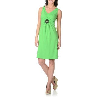 Lennie for Nina Leonard Women's Grass Green Sleeveless Shift Dress