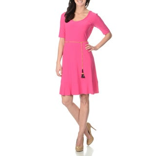 Lennie for Nina Leonard Women's Raspberry Shift Dress with Belt