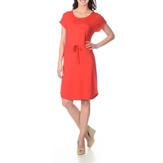 Lennie for Nina Leonard Women's Mandarin Red Drawstring Dress