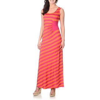 Lennie for Nina Leonard Women's Fuchsia/ Orange Striped Maxi Dress