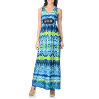 Lennie for Nina Leonard Women's Blue Abstract Aztec Maxi Dress with Belt