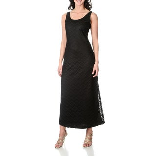 Lennie for Nina Leonard Women's Black Crochet Lace Maxi Dress