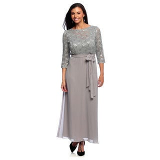 Alex Evenings Women's Petite Lace-top Long Dress with Tie Belt