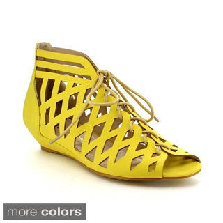 Be Intouch Madden-2 Women's Lace-Up Cut-Out Caged Flat Sandals