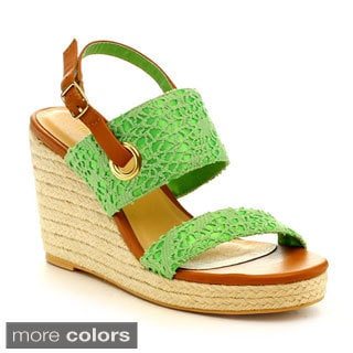 Mark & Maddux Palo-02 Women's Crochet Lace Ankle Strap Wedges