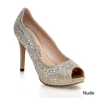 Blossom Angle-5 Women's Peep Toe Glitter Sparkle Slip On Platform Dress Pump Heel