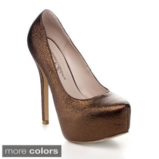Blossom Nelson-63 Women's Almond Toe Shimmer Platform Dress Pumps