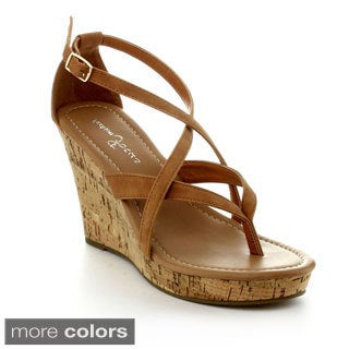 Fashion Focus Alicia-12 Women's Buckle Style Wedge Sandal