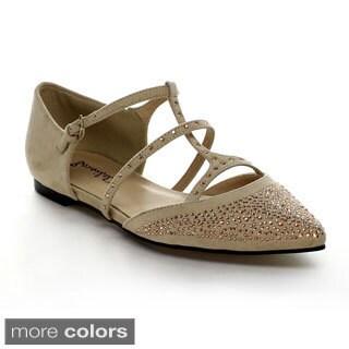 Bonnibel Milo-1 Women's Pointy Toe Rhinestone T-Strap Ballet Flats