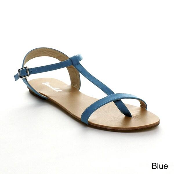 Bonnibel Maya-1 Women's Flat T-Strap Buckle Ankle Strap Sandals