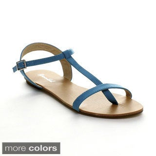Bonnibel Maya-1 Women's Flat T-Strap Buckle Ankle Strap Sandals