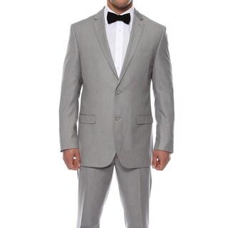 Zonettie by Ferrecci Men's Slim Fit Light Grey Pinstripe Suit
