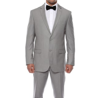 Zonettie by Ferrecci Men's Slim Fit Light Grey Pinstripe Suit