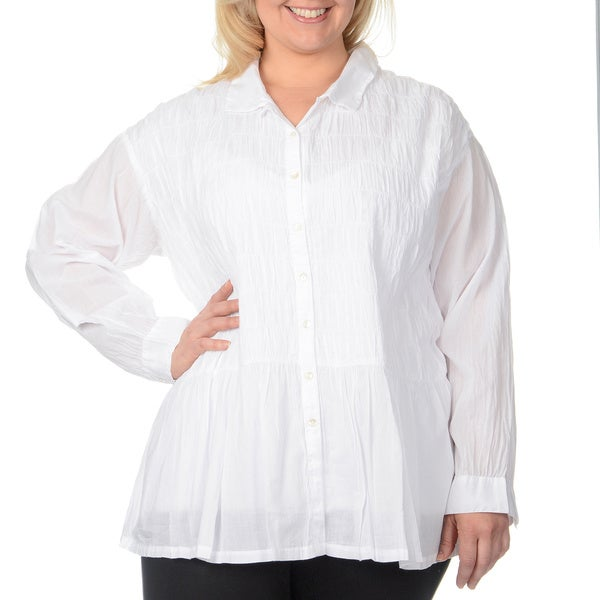 La Cera Women's Plus-size White Puckered Button-up Top 12964971