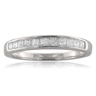 14k White Gold 1/2ct TDW Princess-cut Channel-set Diamond Wedding Band (H-I, I2)
