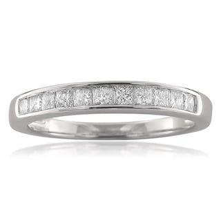 14k White Gold 1/2ct TDW Princess-cut Channel-set Diamond Wedding Band (H-I, I2)