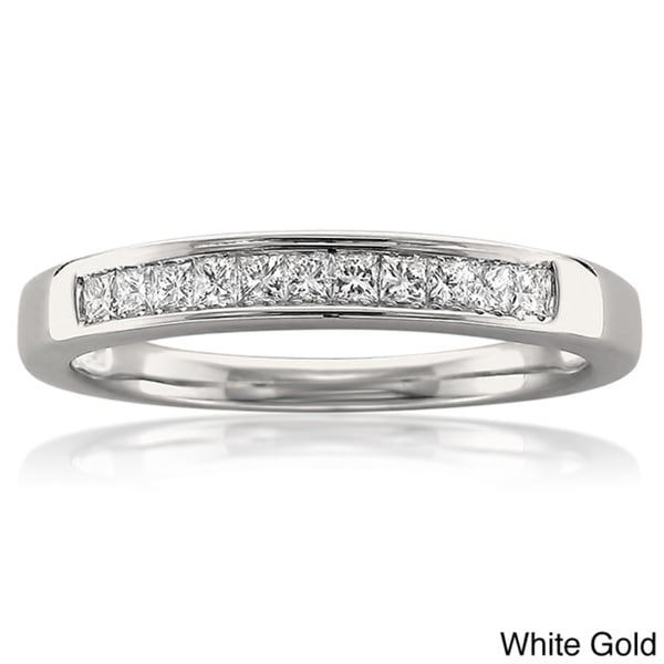 Montebello 14k White or Yellow Gold 1/4ct TDW Princess Cut Channel-set Wedding Band (I-J, VS2)