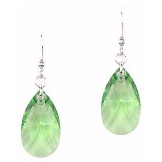 Jewelry by Dawn Large Peridot Green Crystal Pear Sterling Silver Earrings