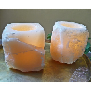 Set of 2 Boulder Candle Holders (Egypt)