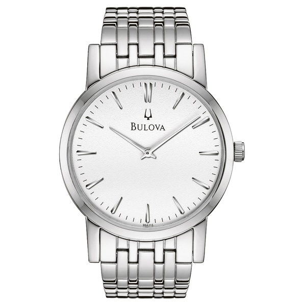 Bulova Men's 96A115 Silvertone White Dial Watch