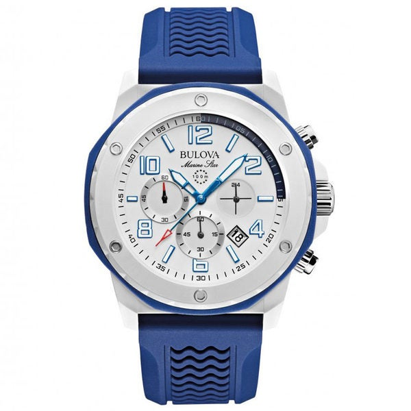 Bulova Men's 98B200 Analog Display Japanese Quartz Blue Chronograph Watch