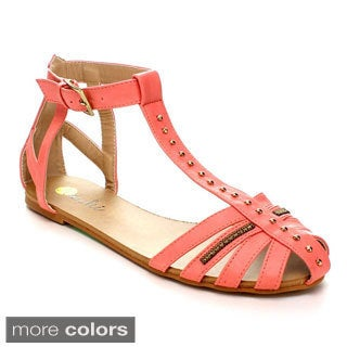 Machi Reagon-4 Women's Ankle T-Strap Flat Gladiator Sandal