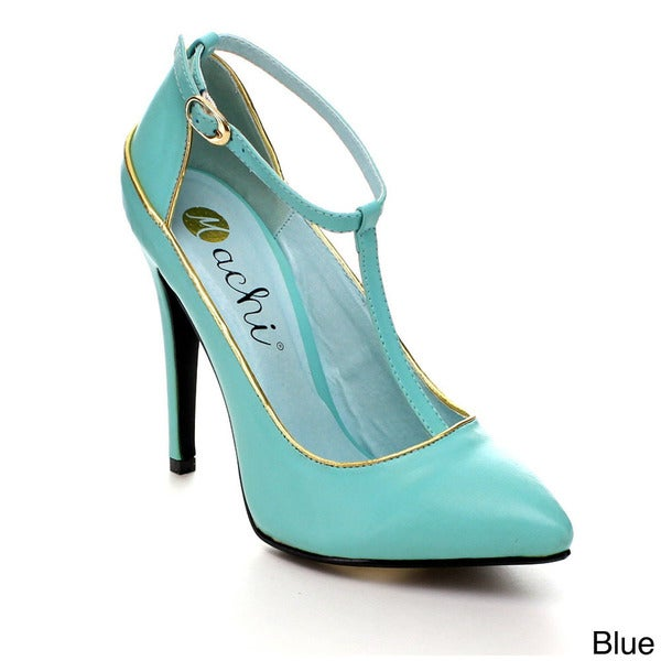 Machi Azusa-2 Women Ankle Strap Pointy Toe Pump
