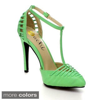 Machi Finder-2 Women Ankle T-Strap Pointy Toe Prom Party Pump