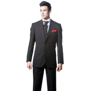 Zonettie by Ferrecci Men's Slim Fit Black Pinstripe Suit