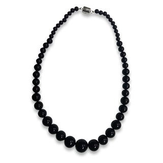 Sterling Silver Black Agate Graduated Bead Necklace