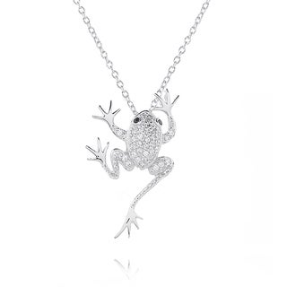 Blue Box Jewels Rhodium-plated Sterling Silver Cubic Zirconia Frog Pendant Necklace