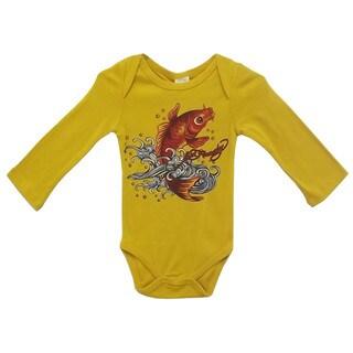 Ed Hardy Baby Girl's Long Sleeve Bodysuit in Mustard