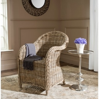 Safavieh Banten Kubu Soft Grey Rattan Club Chair