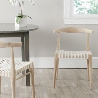 Safavieh Richfield Teak Finish Leather Side Chair (Set of 2)