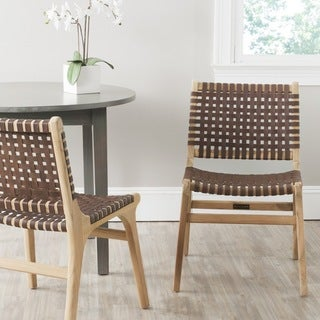 Safavieh Guilford Brown Leather Side Chair (Set of 2)