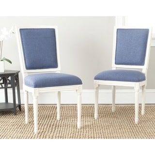 Safavieh Ashton Navy Vicose Blend Oak Wood Rectangle Side Chair (Set of 2)