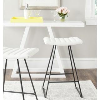 "Safavieh Mid-Century Dining Akito Modern White 27-inch Counter Stool (Set of 2) - 16.5"" x 16"" x 26"""