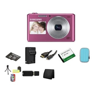 Samsung DV150F Dual View Smart Pink Digital Camera 16GB Bundle