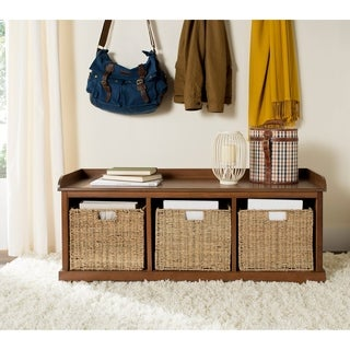 Safavieh Lonan Walnut/ White Storage Bench