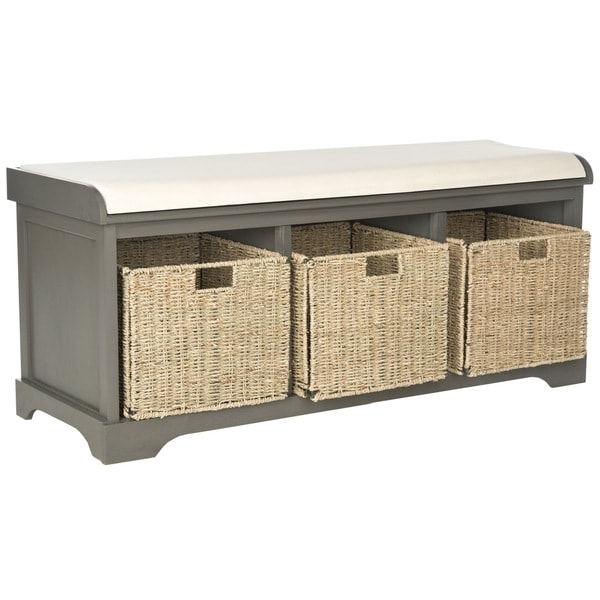 Safavieh lonan grey white storage bench 16245710 shopping great deals on Gray storage bench