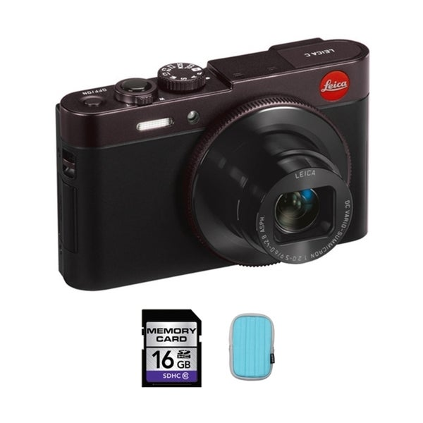 Leica C 12.1MP Dark Red Digital Camera 16GB Bundle 12965938