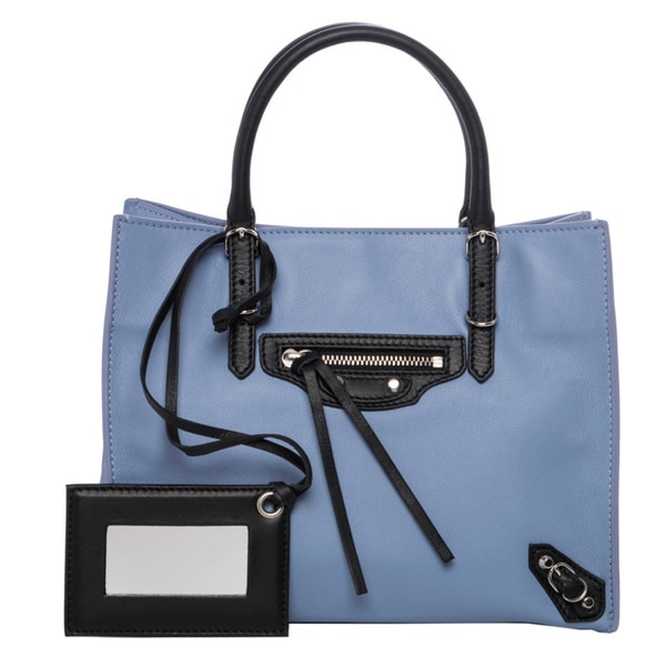 Balenciaga Mini 'A4 Papier' Lavender and Black Leather Tote