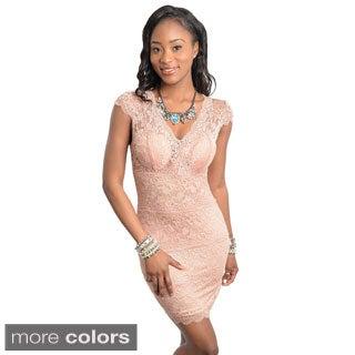 Stanzino Women's Cap-sleeve Lace Dress