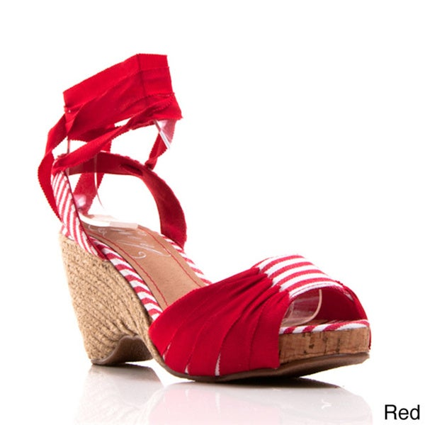 Envy Women's Cerise Open-toe Espadrille Wedge