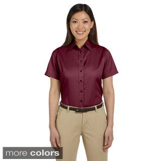 Harriton Women's Easy Blend Short Sleeve Twill Shirt with Stain-Release